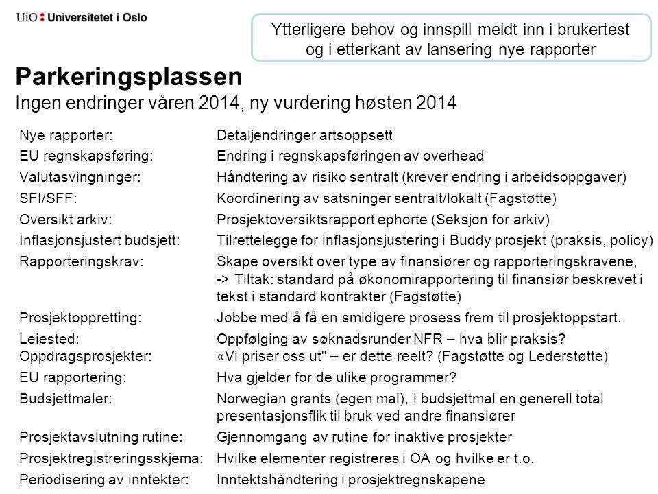Parkeringsplassen Ingen endringer våren 2014, ny vurdering høsten 2014 Nye rapporter:Detaljendringer artsoppsett EU regnskapsføring:Endring i regnskap
