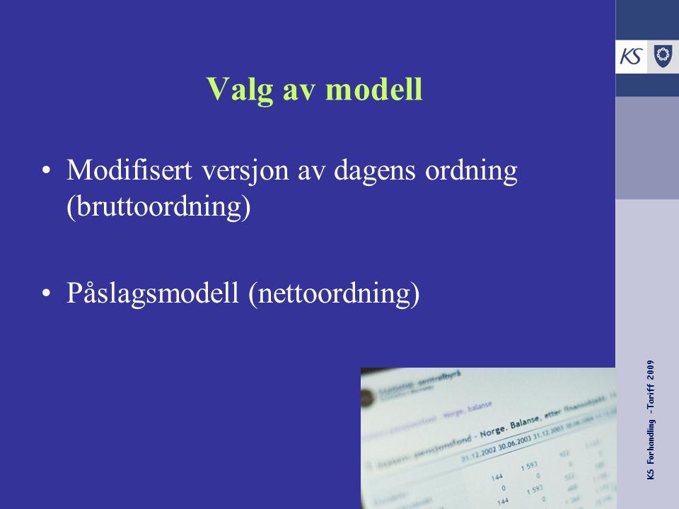 KS Forhandling -Tariff 2009 Valg av modell Modifisert versjon av dagens ordning (bruttoordning) Påslagsmodell (nettoordning)