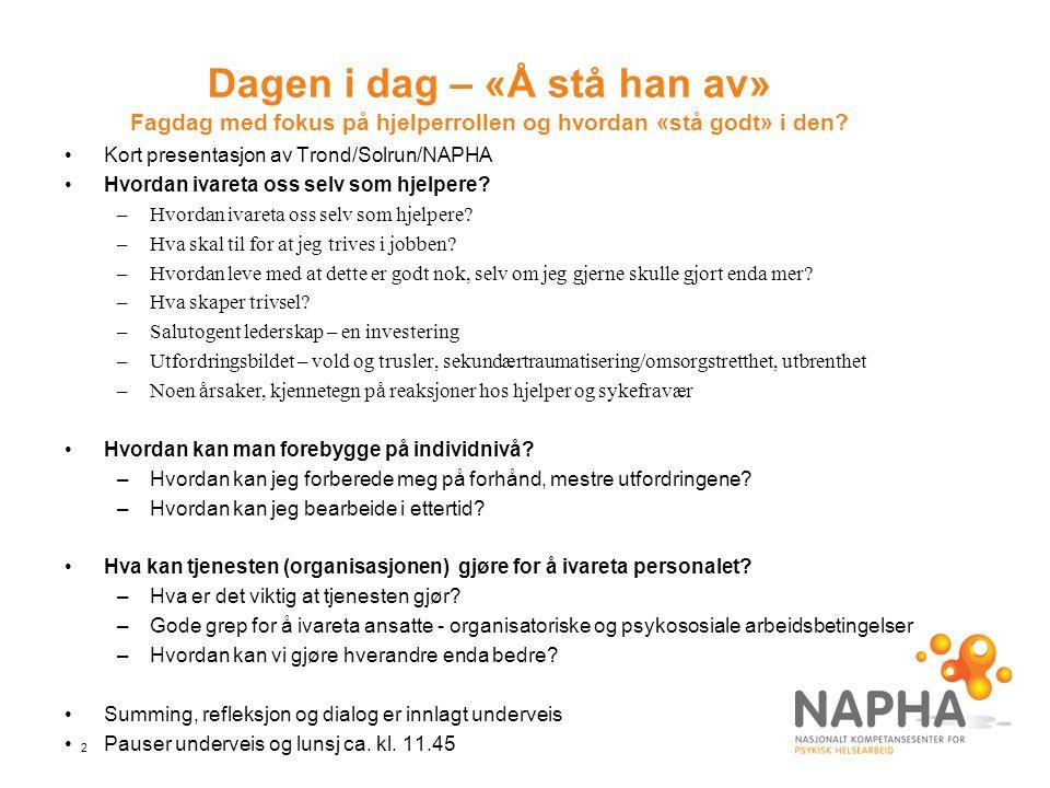 2 Dagen i dag – «Å stå han av» Fagdag med fokus på hjelperrollen og hvordan «stå godt» i den? Kort presentasjon av Trond/Solrun/NAPHA Hvordan ivareta