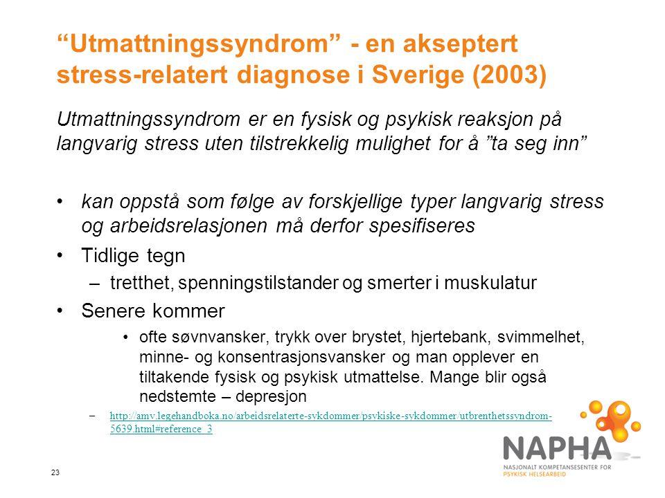 """23 """"Utmattningssyndrom"""" - en akseptert stress-relatert diagnose i Sverige (2003) Utmattningssyndrom er en fysisk og psykisk reaksjon på langvarig stre"""