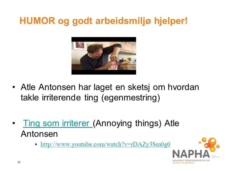 32 HUMOR og godt arbeidsmiljø hjelper! Atle Antonsen har laget en sketsj om hvordan takle irriterende ting (egenmestring) Ting som irriterer (Annoying
