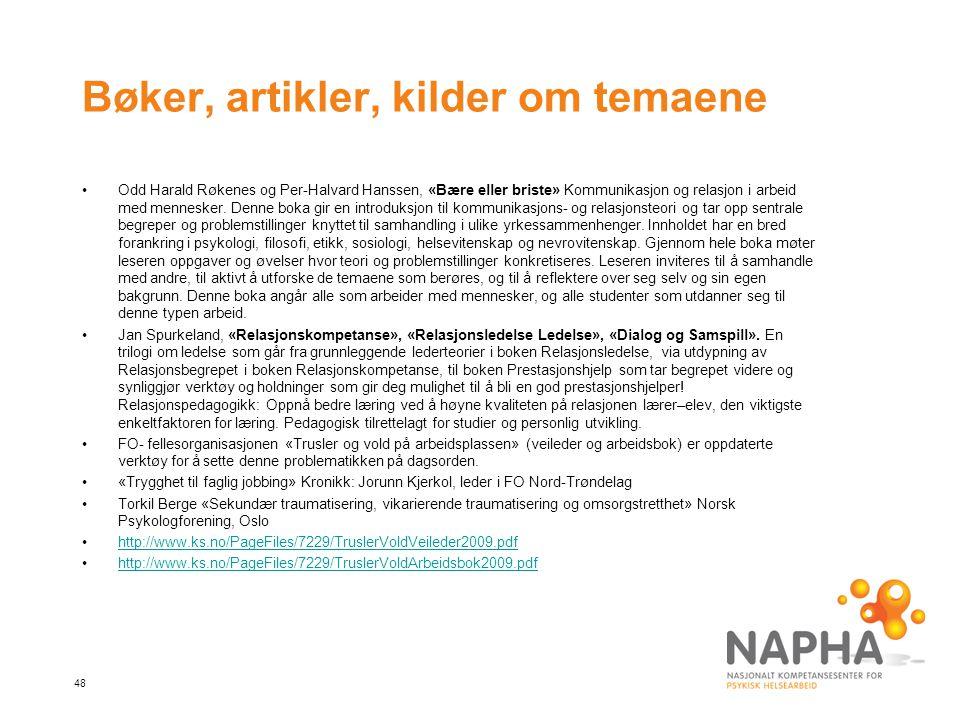 48 Bøker, artikler, kilder om temaene Odd Harald Røkenes og Per-Halvard Hanssen, «Bære eller briste» Kommunikasjon og relasjon i arbeid med mennesker.