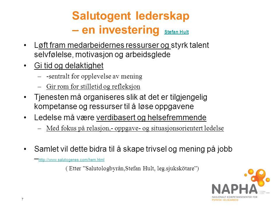 7 Salutogent lederskap – en investering Stefan Hult Stefan Hult Løft fram medarbeidernes ressurser og styrk talent selvfølelse, motivasjon og arbeidsg
