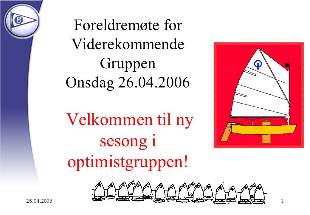26.04.20061 Foreldremøte for Viderekommende Gruppen Onsdag 26.04.2006 Velkommen til ny sesong i optimistgruppen!