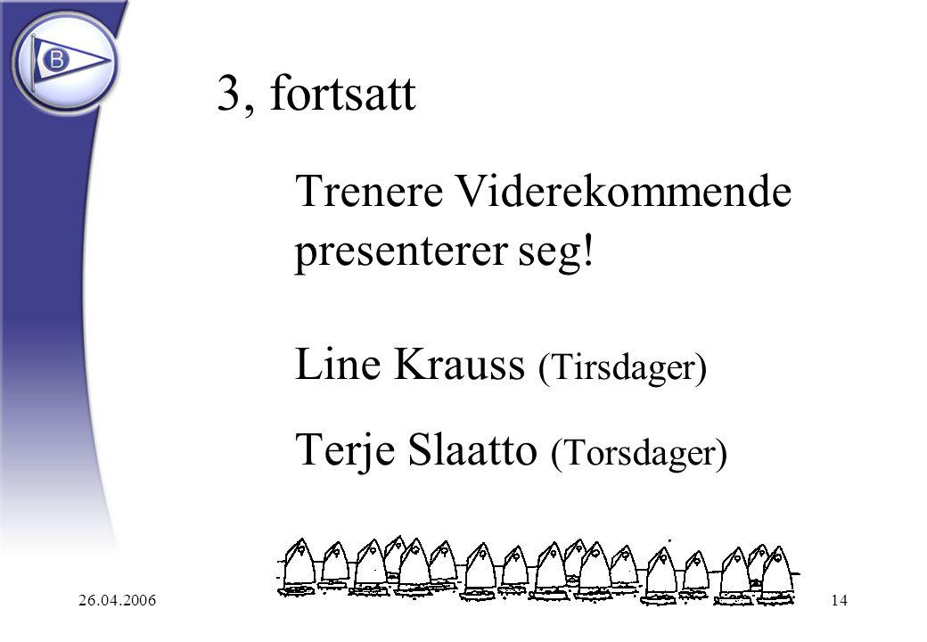 26.04.200614 3, fortsatt Trenere Viderekommende presenterer seg! Line Krauss (Tirsdager) Terje Slaatto (Torsdager)