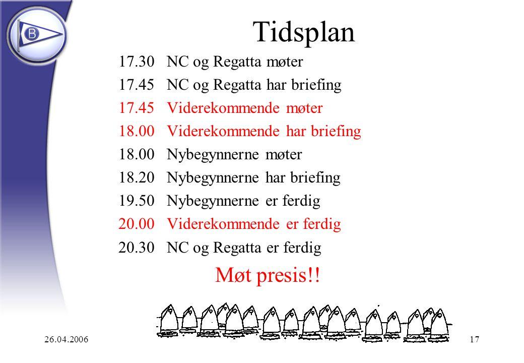 26.04.200617 Tidsplan 17.30NC og Regatta møter 17.45NC og Regatta har briefing 17.45Viderekommende møter 18.00Viderekommende har briefing 18.00Nybegyn