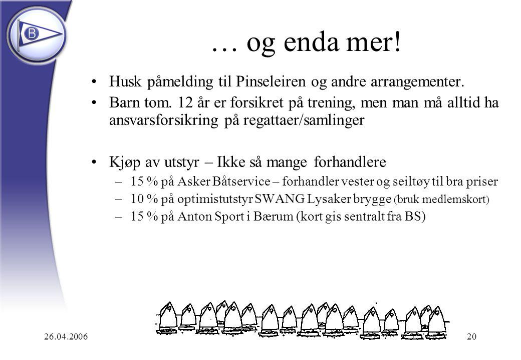 26.04.200620 … og enda mer! Husk påmelding til Pinseleiren og andre arrangementer. Barn tom. 12 år er forsikret på trening, men man må alltid ha ansva