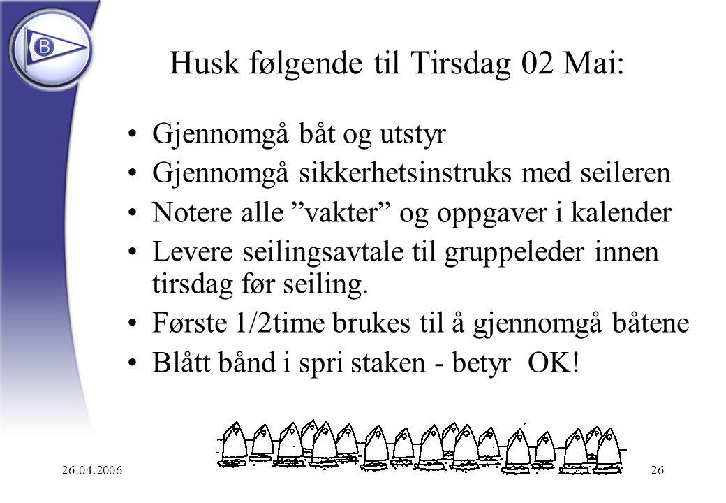 """26.04.200626 Husk følgende til Tirsdag 02 Mai: Gjennomgå båt og utstyr Gjennomgå sikkerhetsinstruks med seileren Notere alle """"vakter"""" og oppgaver i ka"""