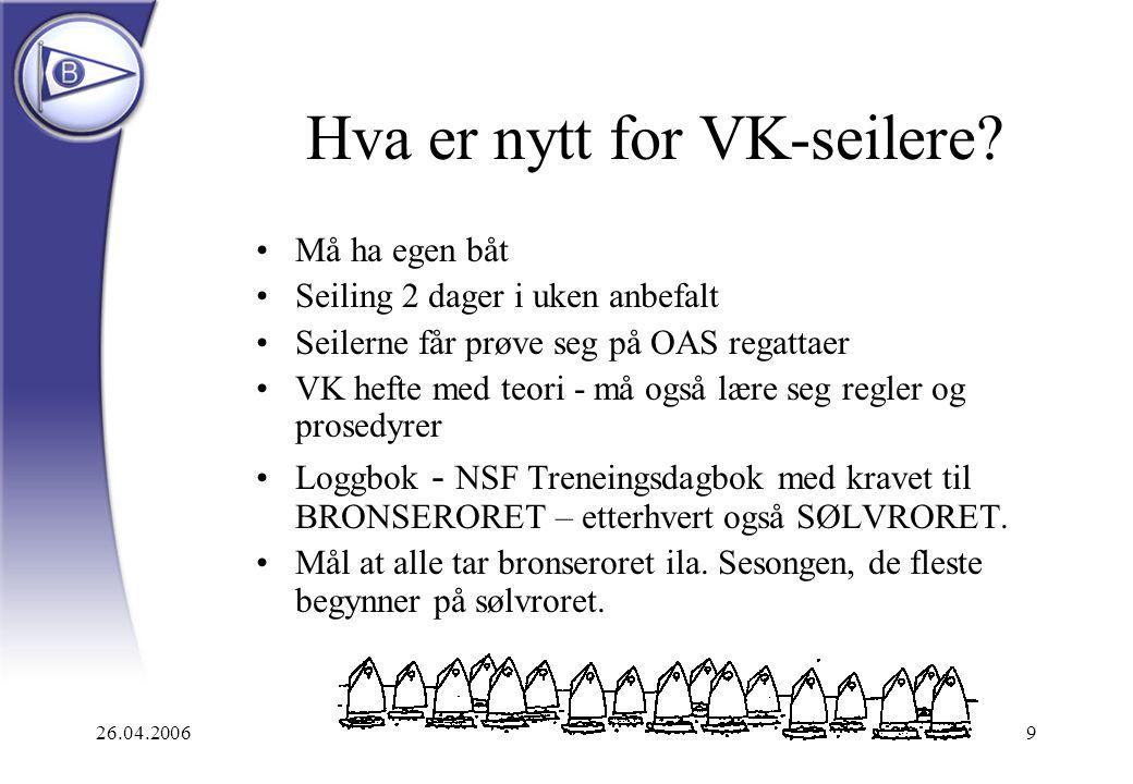 26.04.20069 Hva er nytt for VK-seilere? Må ha egen båt Seiling 2 dager i uken anbefalt Seilerne får prøve seg på OAS regattaer VK hefte med teori - må