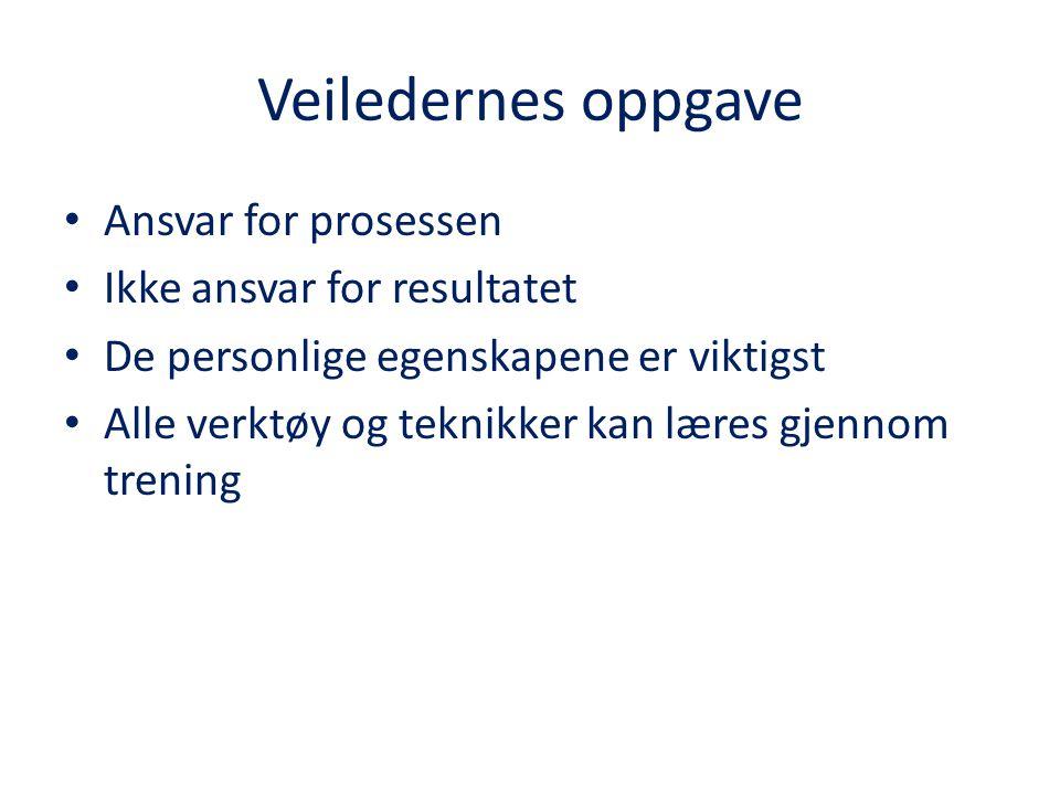 Veilederens oppgave 1.Gå foran som godt eksempel (f.eks.