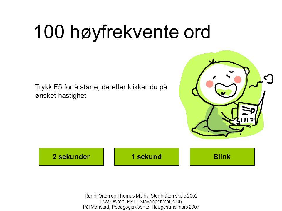 100 høyfrekvente ord 2 sekunder1 sekundBlink Randi Orten og Thomas Melby, Stenbråten skole 2002 Ewa Owren, PPT i Stavanger mai 2006 Pål Monstad, Pedag