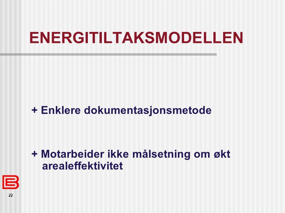 22 ENERGITILTAKSMODELLEN + Enklere dokumentasjonsmetode + Motarbeider ikke målsetning om økt arealeffektivitet