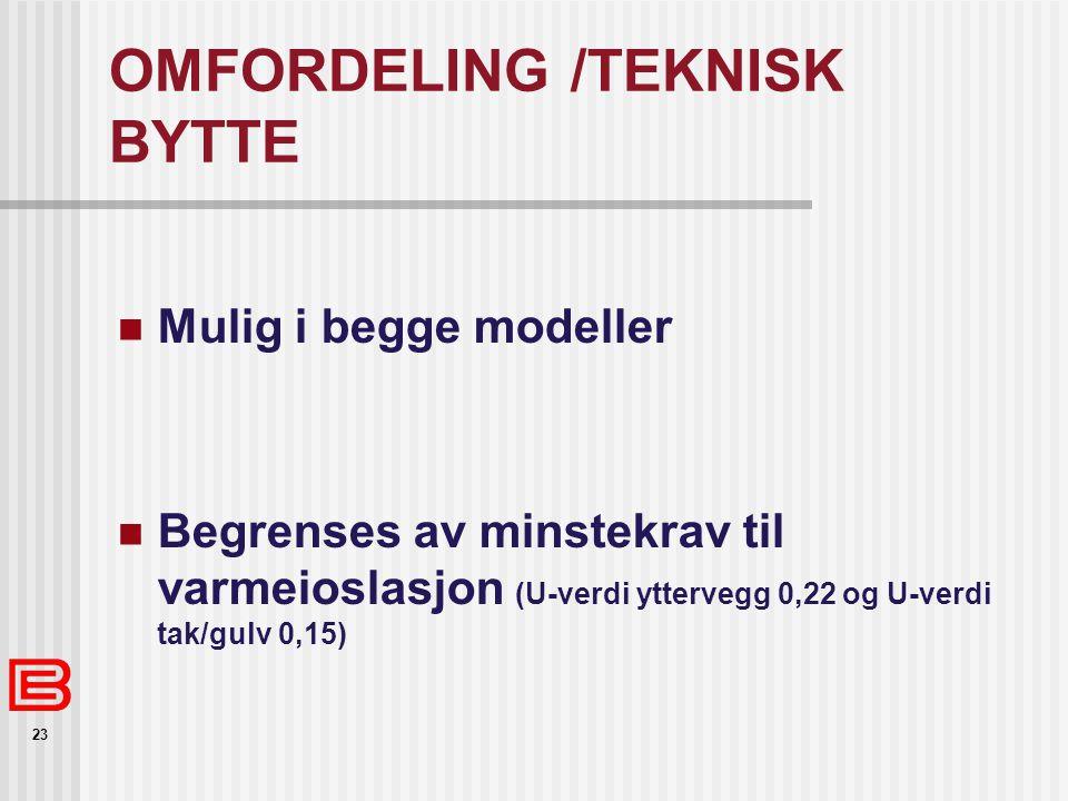 23 OMFORDELING /TEKNISK BYTTE Mulig i begge modeller Begrenses av minstekrav til varmeioslasjon (U-verdi yttervegg 0,22 og U-verdi tak/gulv 0,15)