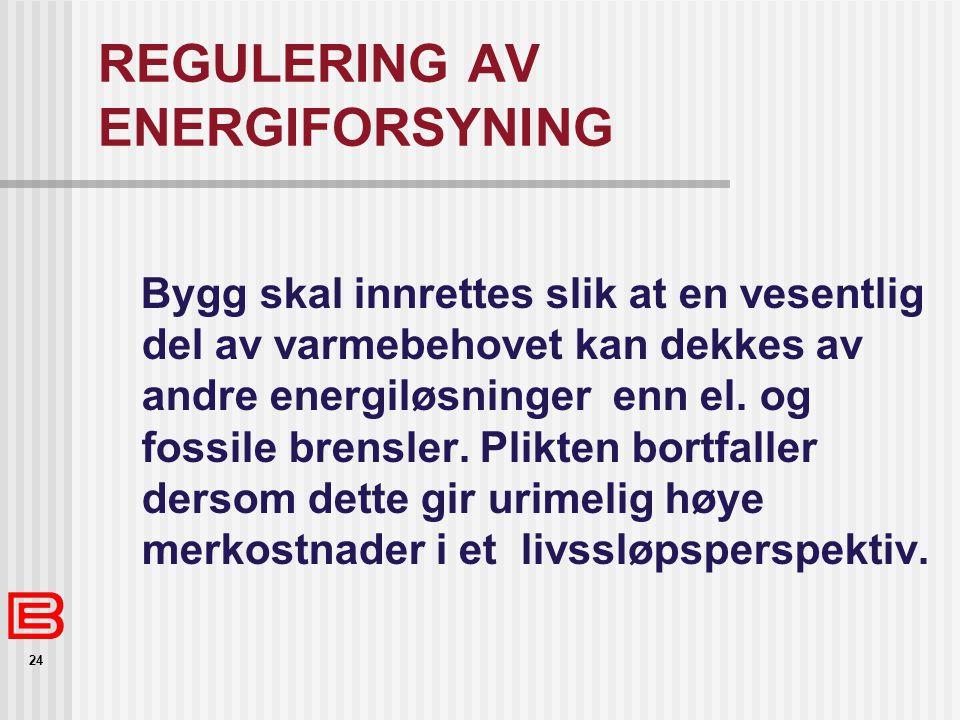 24 REGULERING AV ENERGIFORSYNING Bygg skal innrettes slik at en vesentlig del av varmebehovet kan dekkes av andre energiløsninger enn el. og fossile b