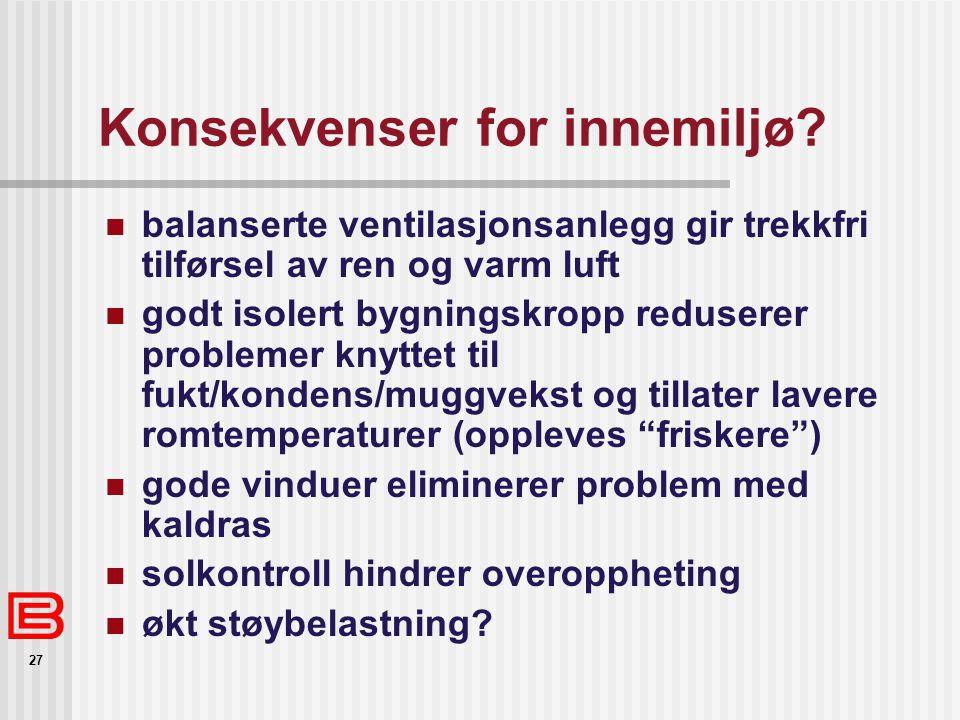 27 Konsekvenser for innemiljø? balanserte ventilasjonsanlegg gir trekkfri tilførsel av ren og varm luft godt isolert bygningskropp reduserer problemer
