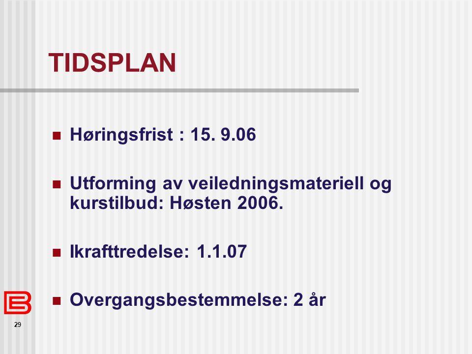 29 TIDSPLAN Høringsfrist : 15. 9.06 Utforming av veiledningsmateriell og kurstilbud: Høsten 2006. Ikrafttredelse: 1.1.07 Overgangsbestemmelse: 2 år