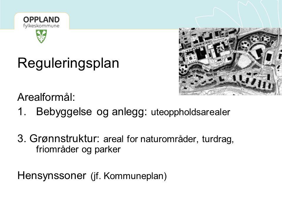Reguleringsplan Arealformål: 1.Bebyggelse og anlegg: uteoppholdsarealer 3. Grønnstruktur: areal for naturområder, turdrag, friområder og parker Hensyn