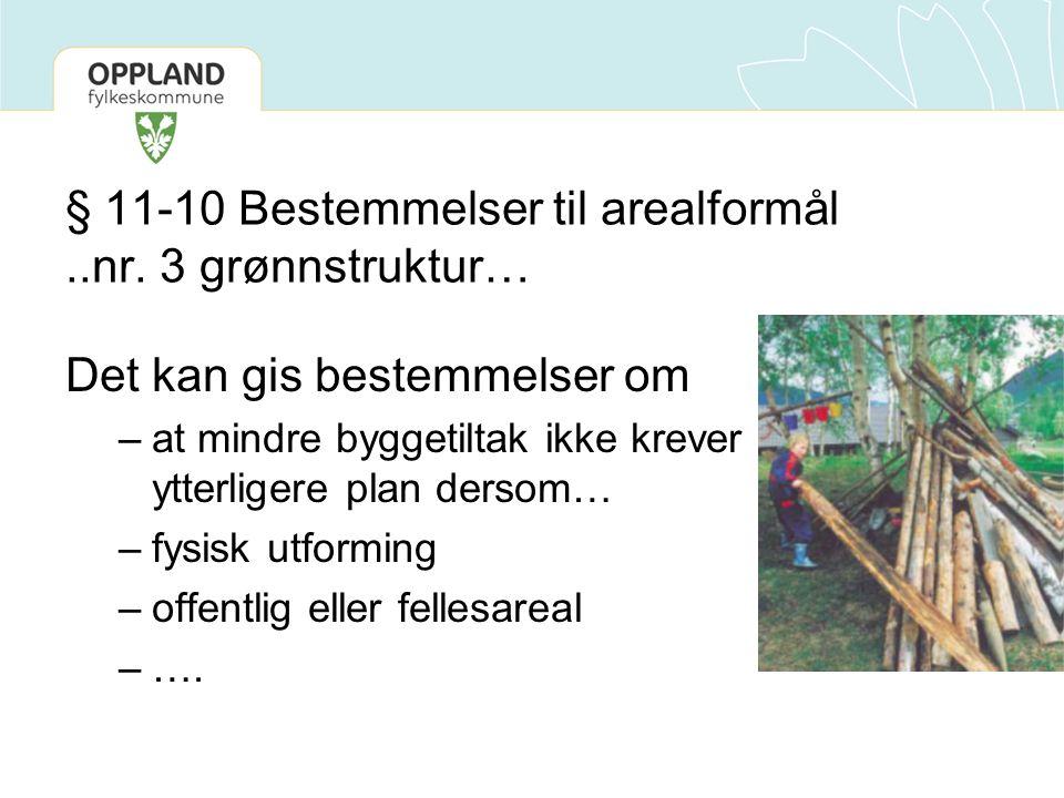 § 11-10 Bestemmelser til arealformål..nr. 3 grønnstruktur… Det kan gis bestemmelser om –at mindre byggetiltak ikke krever ytterligere plan dersom… –fy