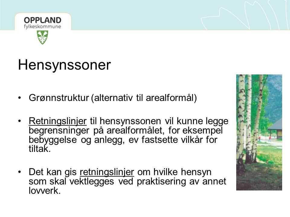 Hensynssoner Grønnstruktur (alternativ til arealformål) Retningslinjer til hensynssonen vil kunne legge begrensninger på arealformålet, for eksempel b