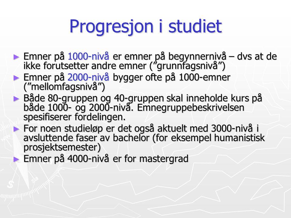 """Progresjon i studiet ► Emner på 1000-nivå er emner på begynnernivå – dvs at de ikke forutsetter andre emner (""""grunnfagsnivå"""") ► Emner på 2000-nivå byg"""