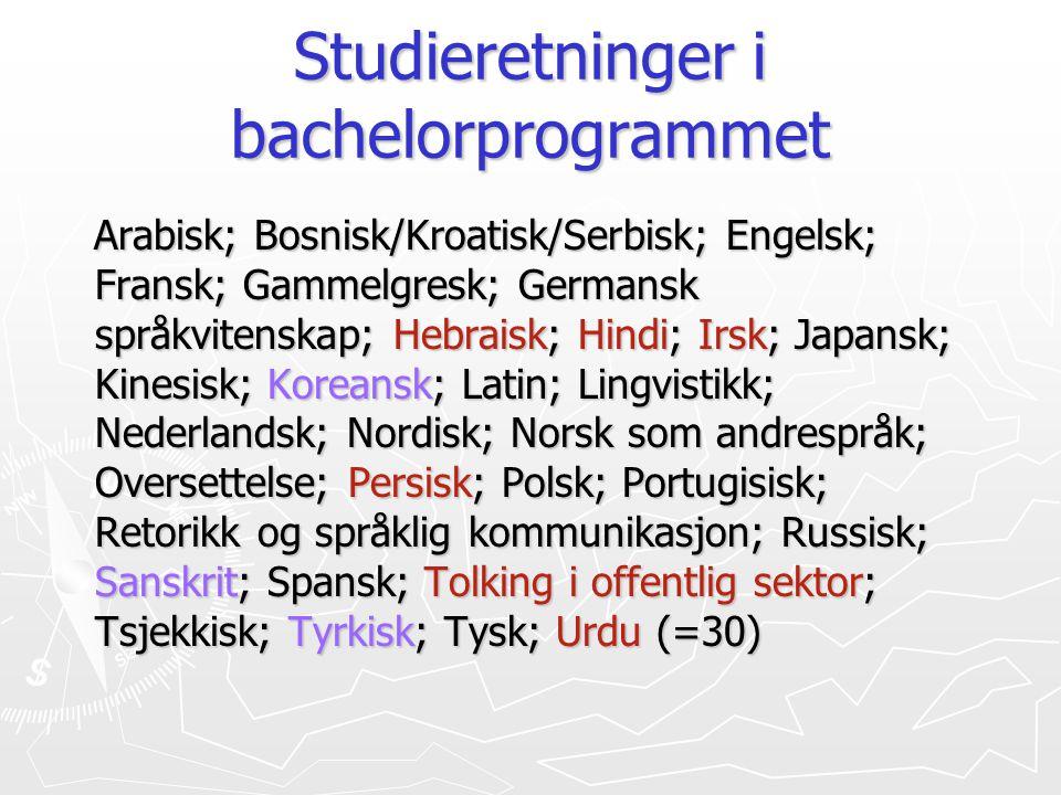 Studieretninger i bachelorprogrammet Arabisk; Bosnisk/Kroatisk/Serbisk; Engelsk; Fransk; Gammelgresk; Germansk språkvitenskap; Hebraisk; Hindi; Irsk;