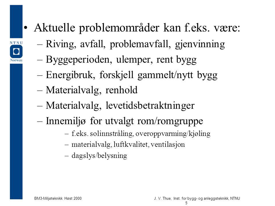J. V. Thue, Inst. for bygg- og anleggsteknikk, NTNU 5 BM3-Miljøteknikk Høst 2000 Aktuelle problemområder kan f.eks. være: –Riving, avfall, problemavfa
