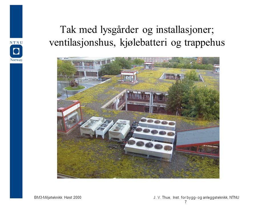 J. V. Thue, Inst. for bygg- og anleggsteknikk, NTNU 7 BM3-Miljøteknikk Høst 2000 Tak med lysgårder og installasjoner; ventilasjonshus, kjølebatteri og