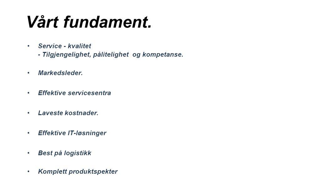 Vårt fundament. Service - kvalitet - Tilgjengelighet, pålitelighet og kompetanse. Markedsleder. Effektive servicesentra Laveste kostnader. Effektive I