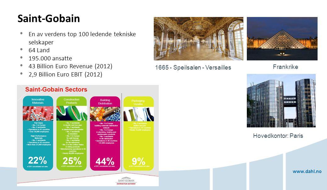 www.dahl.no Saint-Gobain En av verdens top 100 ledende tekniske selskaper 64 Land 195.000 ansatte 43 Billion Euro Revenue (2012) 2,9 Billion Euro EBIT