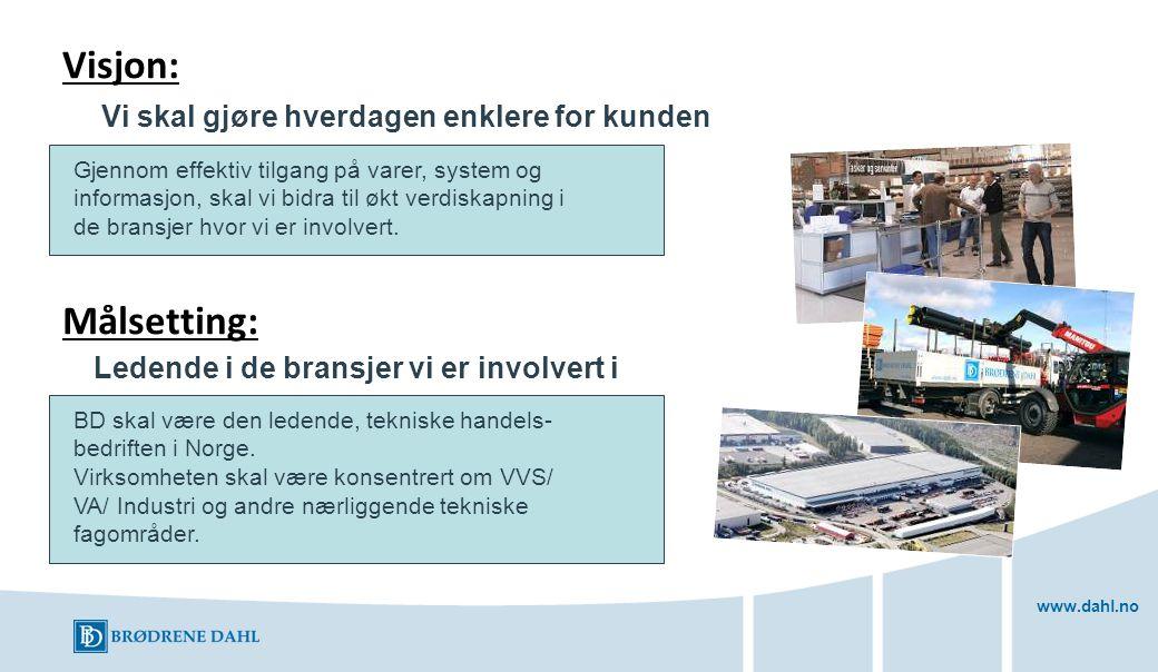 www.dahl.no Gjennom effektiv tilgang på varer, system og informasjon, skal vi bidra til økt verdiskapning i de bransjer hvor vi er involvert. Ledende
