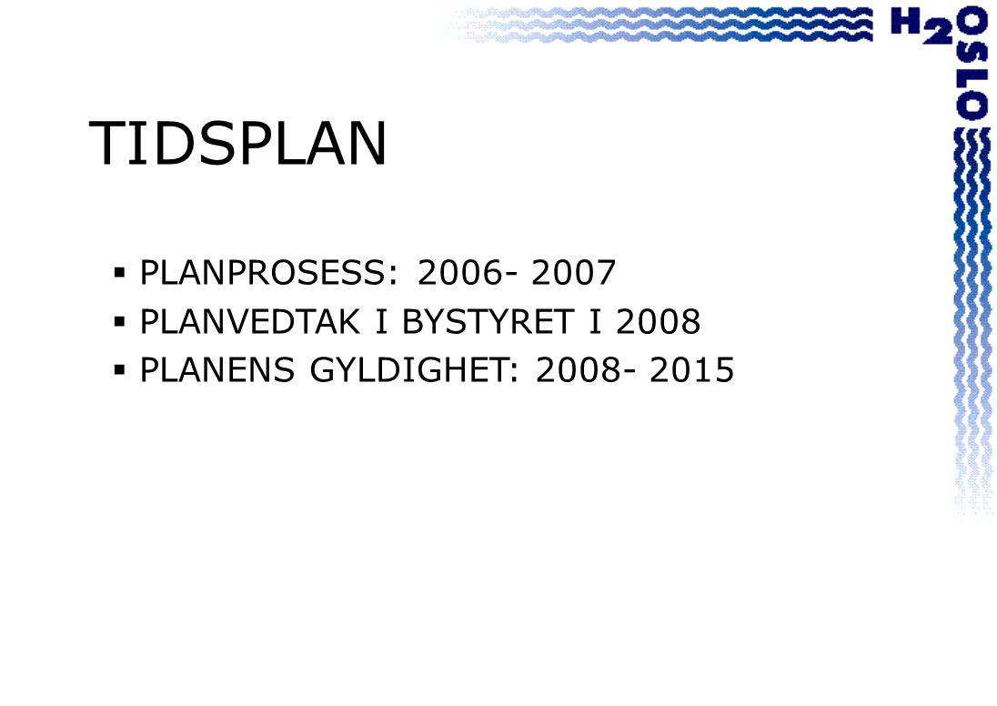 TIDSPLAN  PLANPROSESS: 2006- 2007  PLANVEDTAK I BYSTYRET I 2008  PLANENS GYLDIGHET: 2008- 2015