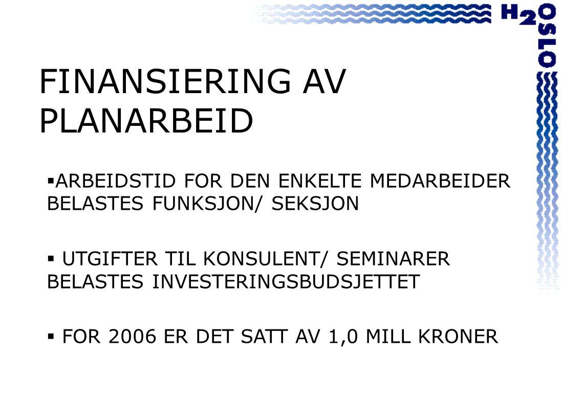 FINANSIERING AV PLANARBEID  ARBEIDSTID FOR DEN ENKELTE MEDARBEIDER BELASTES FUNKSJON/ SEKSJON  UTGIFTER TIL KONSULENT/ SEMINARER BELASTES INVESTERINGSBUDSJETTET  FOR 2006 ER DET SATT AV 1,0 MILL KRONER