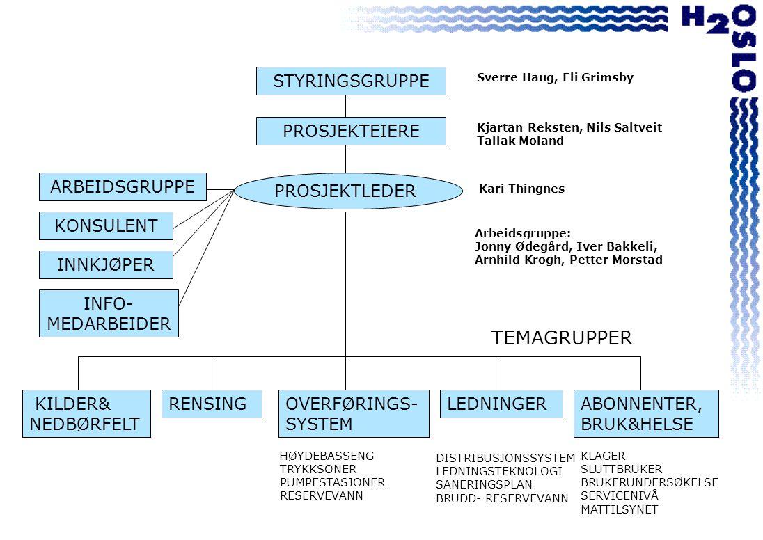 STYRINGSGRUPPE KILDER& NEDBØRFELT PROSJEKTEIERE ARBEIDSGRUPPE INNKJØPER ABONNENTER, BRUK&HELSE OVERFØRINGS- SYSTEM RENSING KONSULENT PROSJEKTLEDER INFO- MEDARBEIDER TEMAGRUPPER Sverre Haug, Eli Grimsby Kjartan Reksten, Nils Saltveit Tallak Moland Kari Thingnes LEDNINGER HØYDEBASSENG TRYKKSONER PUMPESTASJONER RESERVEVANN DISTRIBUSJONSSYSTEM LEDNINGSTEKNOLOGI SANERINGSPLAN BRUDD- RESERVEVANN KLAGER SLUTTBRUKER BRUKERUNDERSØKELSE SERVICENIVÅ MATTILSYNET Arbeidsgruppe: Jonny Ødegård, Iver Bakkeli, Arnhild Krogh, Petter Morstad