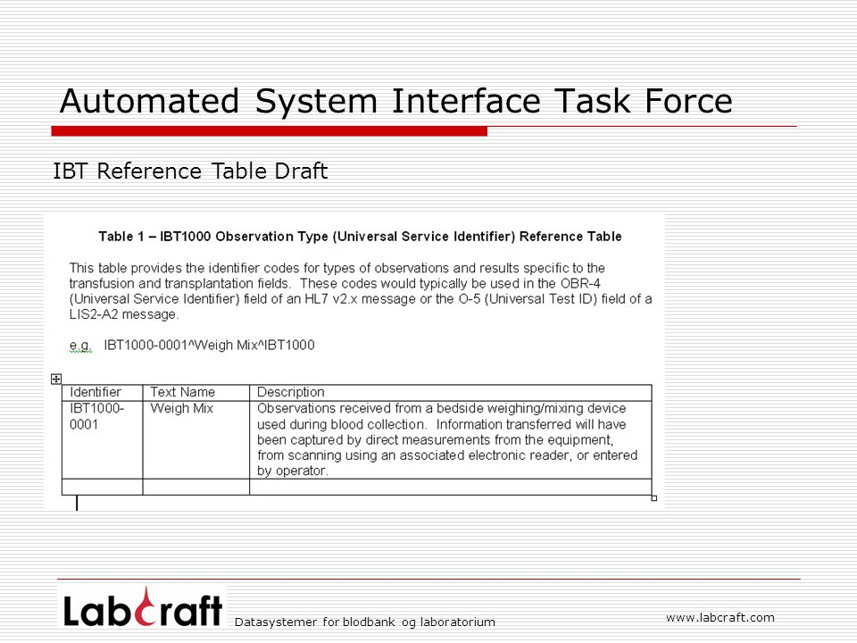 www.labcraft.com Datasystemer for blodbank og laboratorium Automated System Interface Task Force IBT Reference Table Draft
