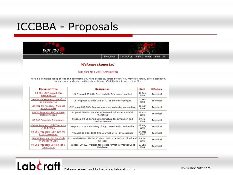 www.labcraft.com Datasystemer for blodbank og laboratorium ICCBBA - Proposals