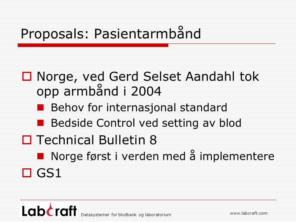 www.labcraft.com Datasystemer for blodbank og laboratorium Proposals: Pasientarmbånd  Norge, ved Gerd Selset Aandahl tok opp armbånd i 2004 Behov for
