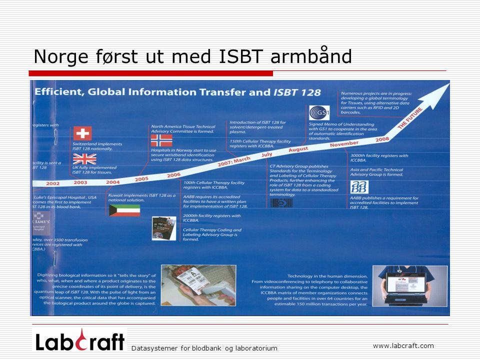 www.labcraft.com Datasystemer for blodbank og laboratorium Norge først ut med ISBT armbånd