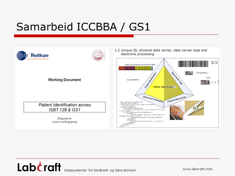 www.labcraft.com Datasystemer for blodbank og laboratorium Samarbeid ICCBBA / GS1