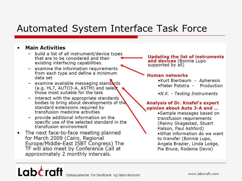 www.labcraft.com Datasystemer for blodbank og laboratorium Technical Bulletin 8