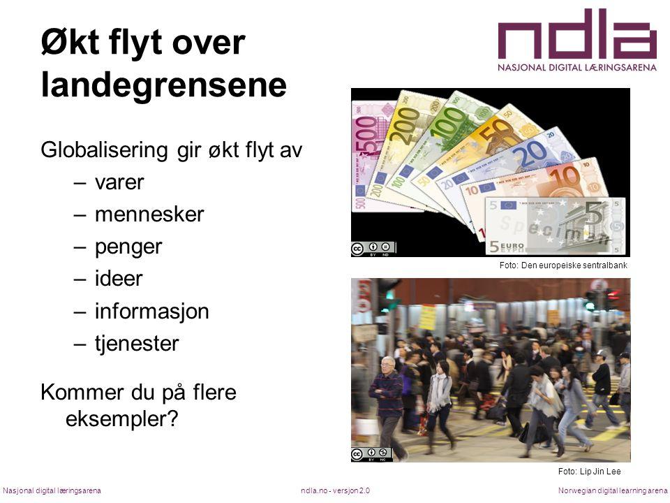 ndla.no - versjon 2.0Nasjonal digital læringsarenaNorwegian digital learning arena Økt flyt over landegrensene Globalisering gir økt flyt av –varer –m