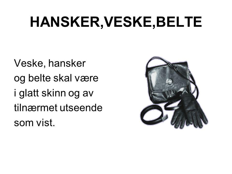 HANSKER,VESKE,BELTE Veske, hansker og belte skal være i glatt skinn og av tilnærmet utseende som vist.
