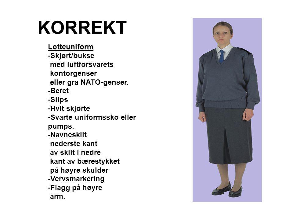 KORREKT Lotteuniform -Skjørt/bukse med luftforsvarets kontorgenser eller grå NATO-genser. -Beret -Slips -Hvit skjorte -Svarte uniformssko eller pumps.
