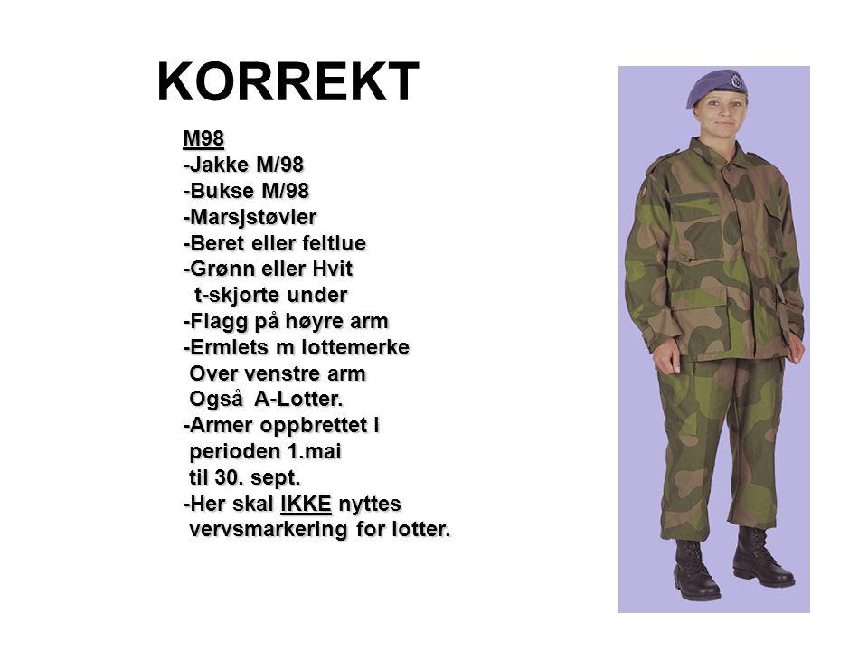KORREKT M98 -Jakke M/98 -Bukse M/98 -Marsjstøvler -Beret eller feltlue -Grønn eller Hvit t-skjorte under t-skjorte under -Flagg på høyre arm -Ermlets