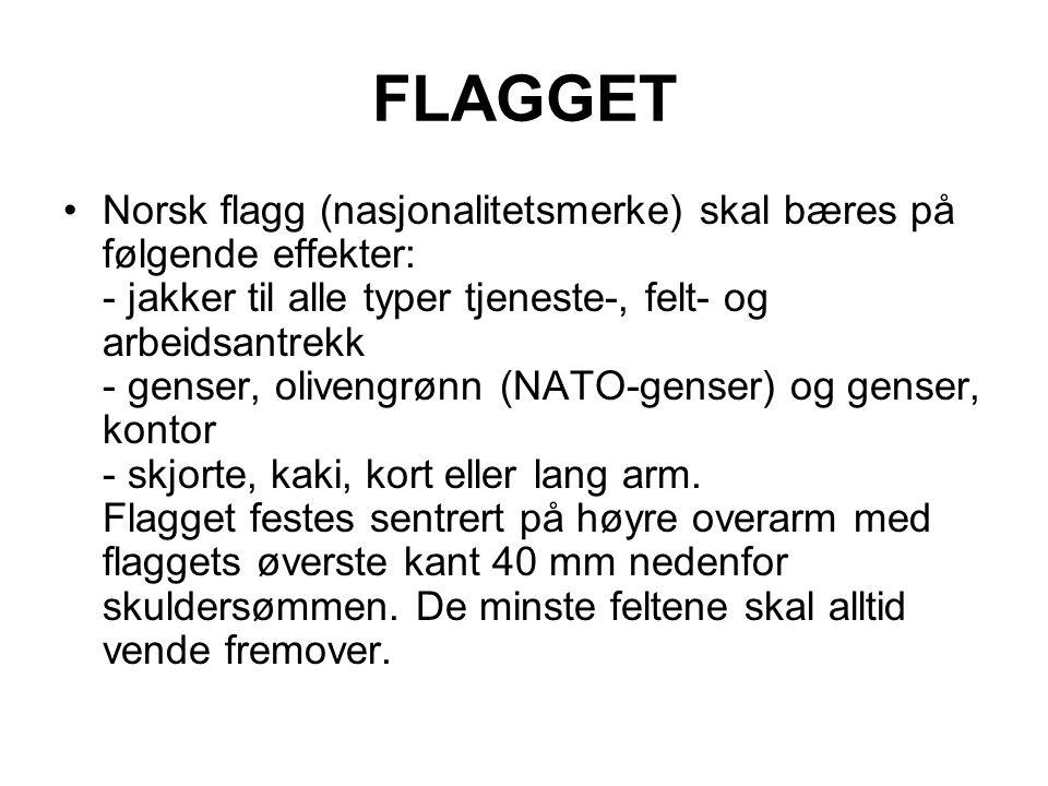 FLAGGET Norsk flagg (nasjonalitetsmerke) skal bæres på følgende effekter: - jakker til alle typer tjeneste-, felt- og arbeidsantrekk - genser, oliveng