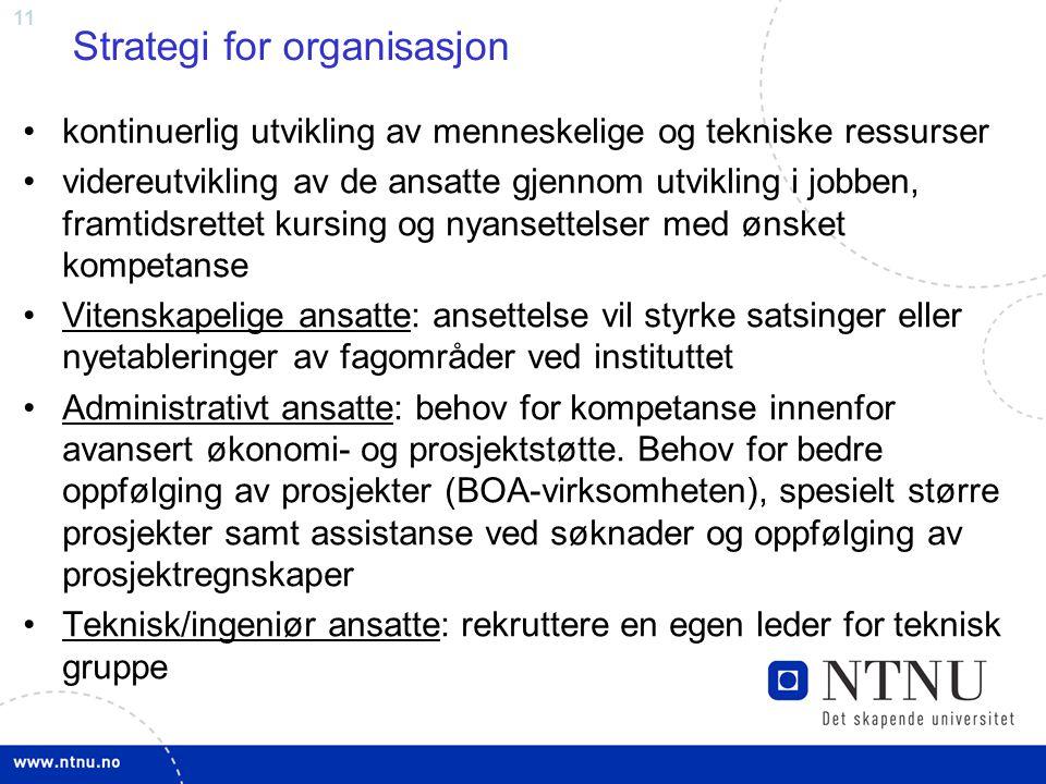 11 Strategi for organisasjon kontinuerlig utvikling av menneskelige og tekniske ressurser videreutvikling av de ansatte gjennom utvikling i jobben, fr
