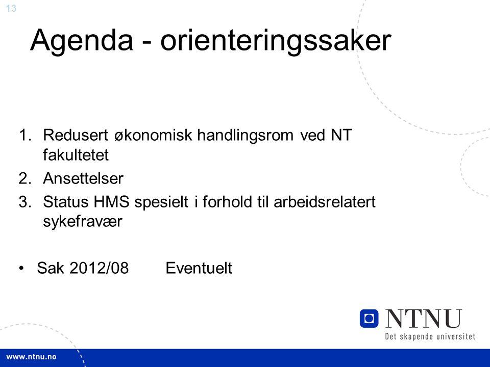 13 Agenda - orienteringssaker 1.Redusert økonomisk handlingsrom ved NT fakultetet 2.Ansettelser 3.Status HMS spesielt i forhold til arbeidsrelatert sy
