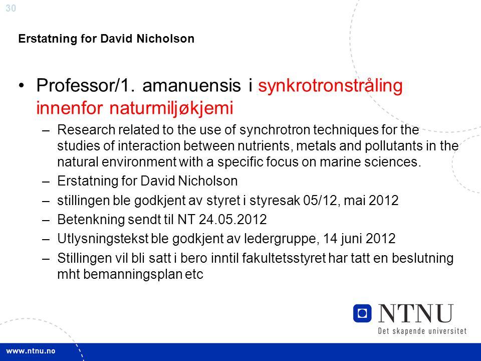 30 Erstatning for David Nicholson Professor/1. amanuensis i synkrotronstråling innenfor naturmiljøkjemi –Research related to the use of synchrotron te