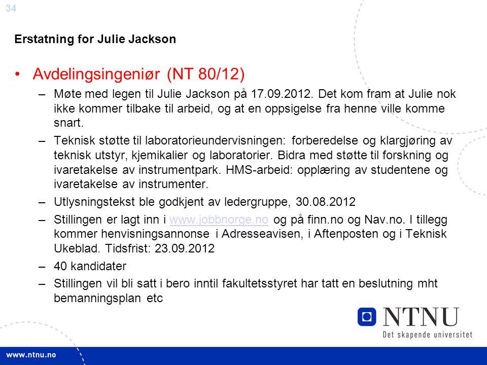 34 Erstatning for Julie Jackson Avdelingsingeniør (NT 80/12) –Møte med legen til Julie Jackson på 17.09.2012. Det kom fram at Julie nok ikke kommer ti