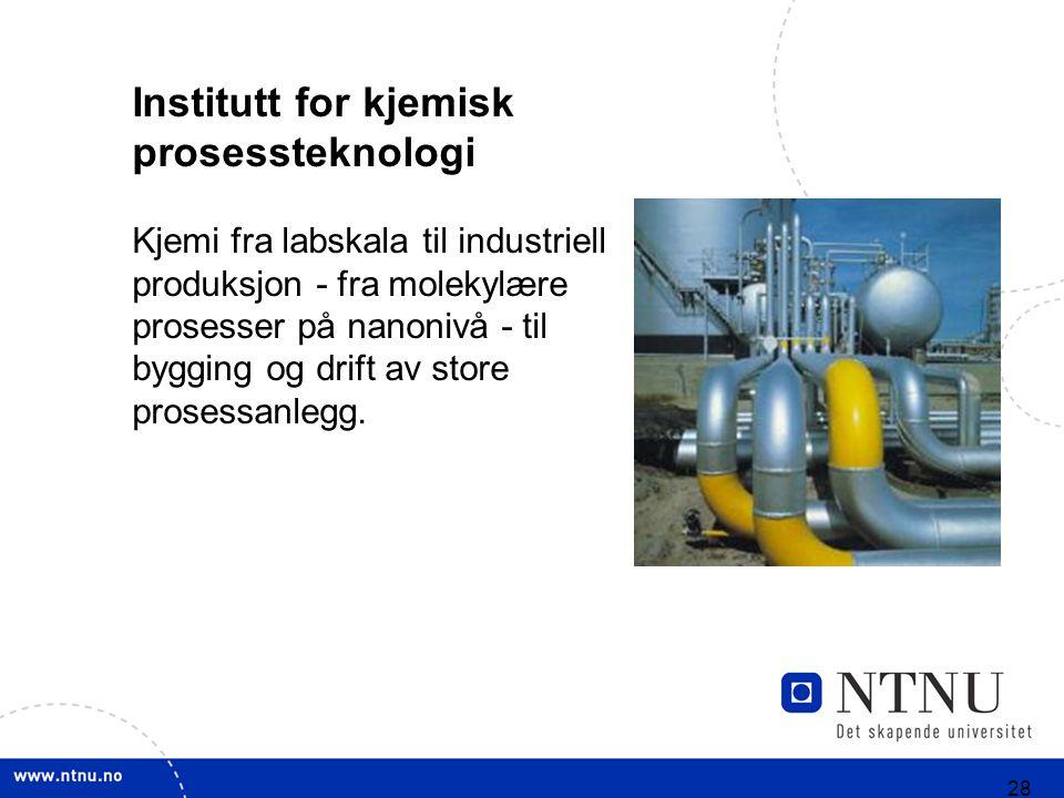 28 Institutt for kjemisk prosessteknologi Kjemi fra labskala til industriell produksjon - fra molekylære prosesser på nanonivå - til bygging og drift av store prosessanlegg.