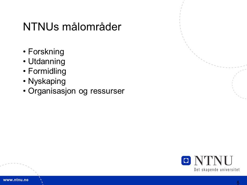 5 NTNUs målområder Forskning Utdanning Formidling Nyskaping Organisasjon og ressurser